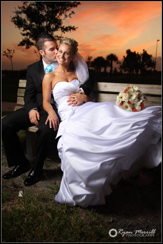 beautiful sunset wedding formal photos bride groom park