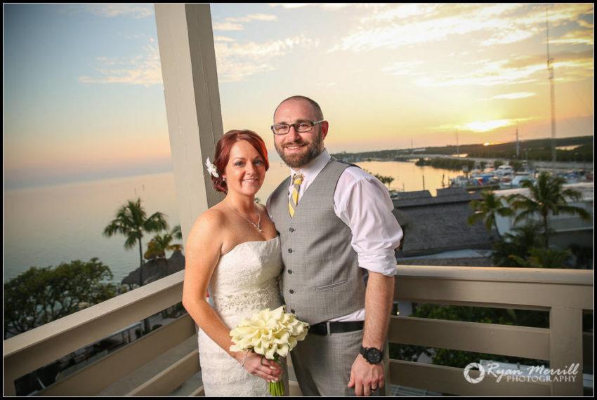 sunset wedding florida keys bride & groom