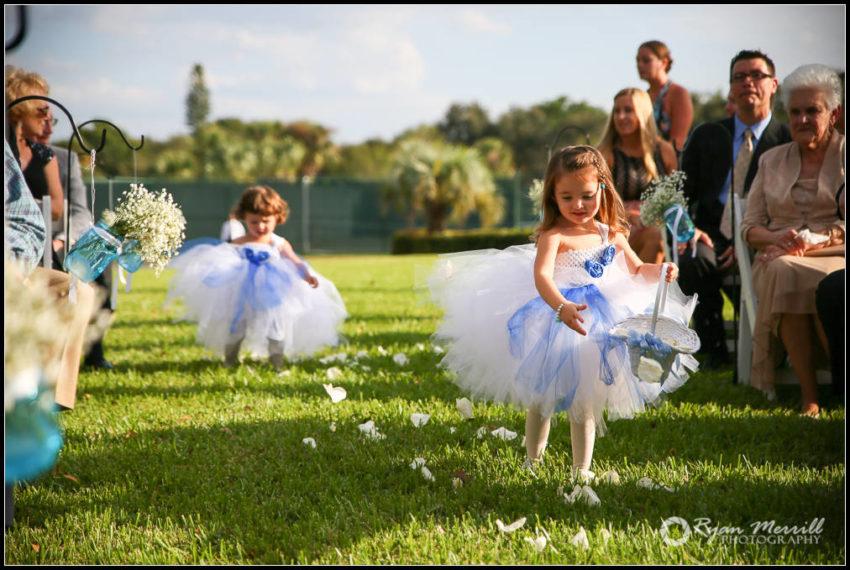 Eastpointe Country Club wedding Ceremony Flower Girls