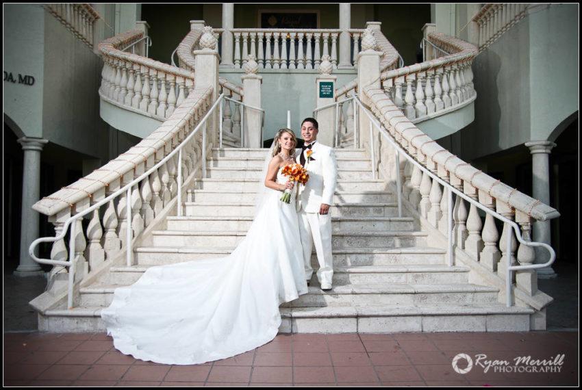 wedding portrait bride groom on stairs stairway