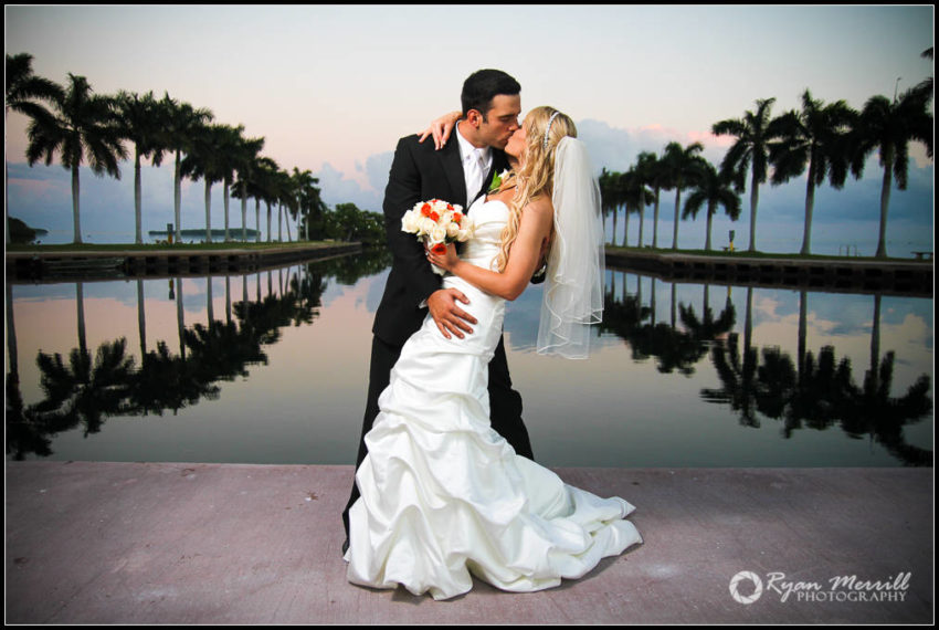 wedding formal photos reflection water couple dip