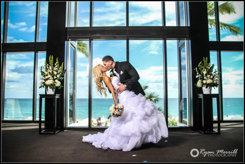 wedding ceremony first kiss dip