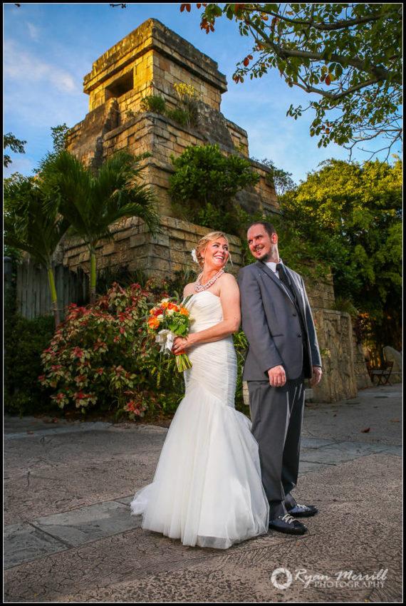 Wedding Palm Beach Zoo Mayan Temple Funny Couple