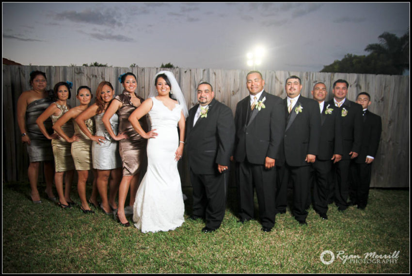wedding party sunset formal photo