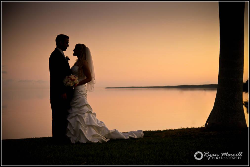 wedding formal photo ocean silhouette bride groom